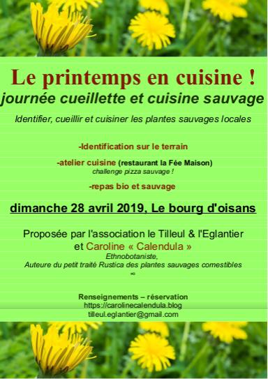 Affiche journée cueillette et cuisine sauvage du 28 avril 2019, Bourg d'Oisans