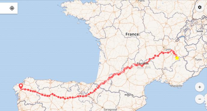 Itinéraire d'Auris-en-Oisans à St Jacques de Compostelle
