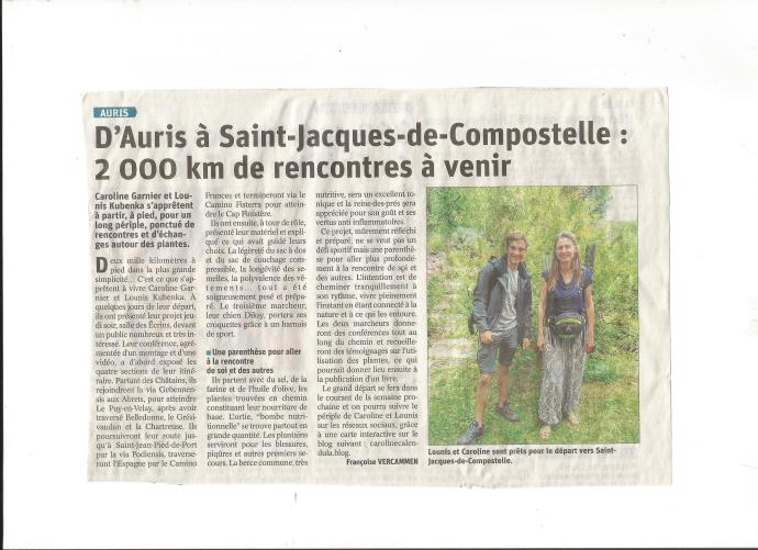 Article du Dauphiné Libéré, du 3 août 2019