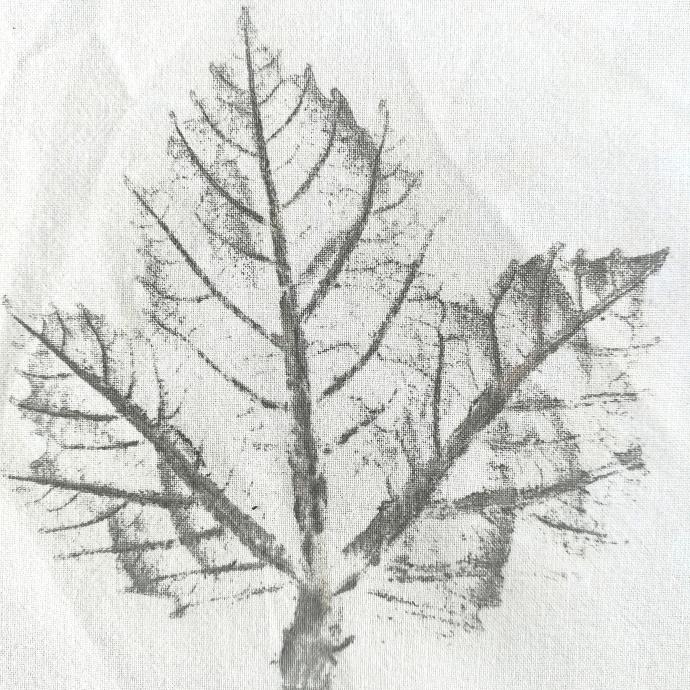 Impression végétale d'une feuille frappée