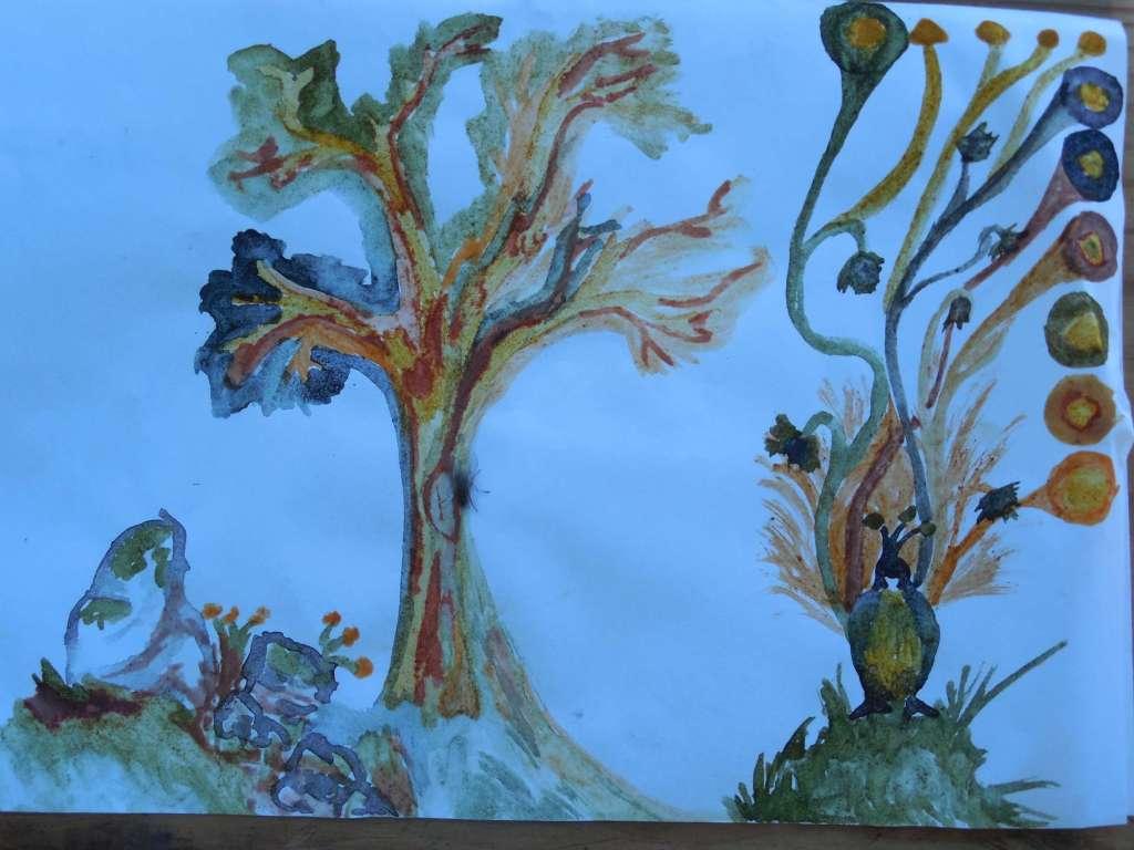 Dessin abstrait avec de la peinture végétale